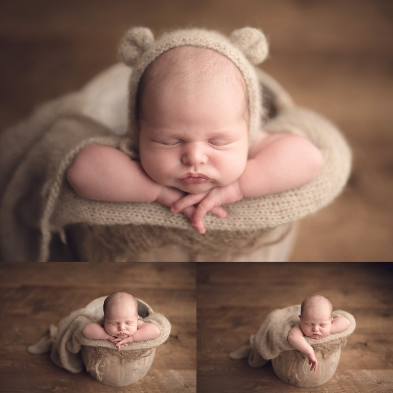 houston newborn photography baby in bucket