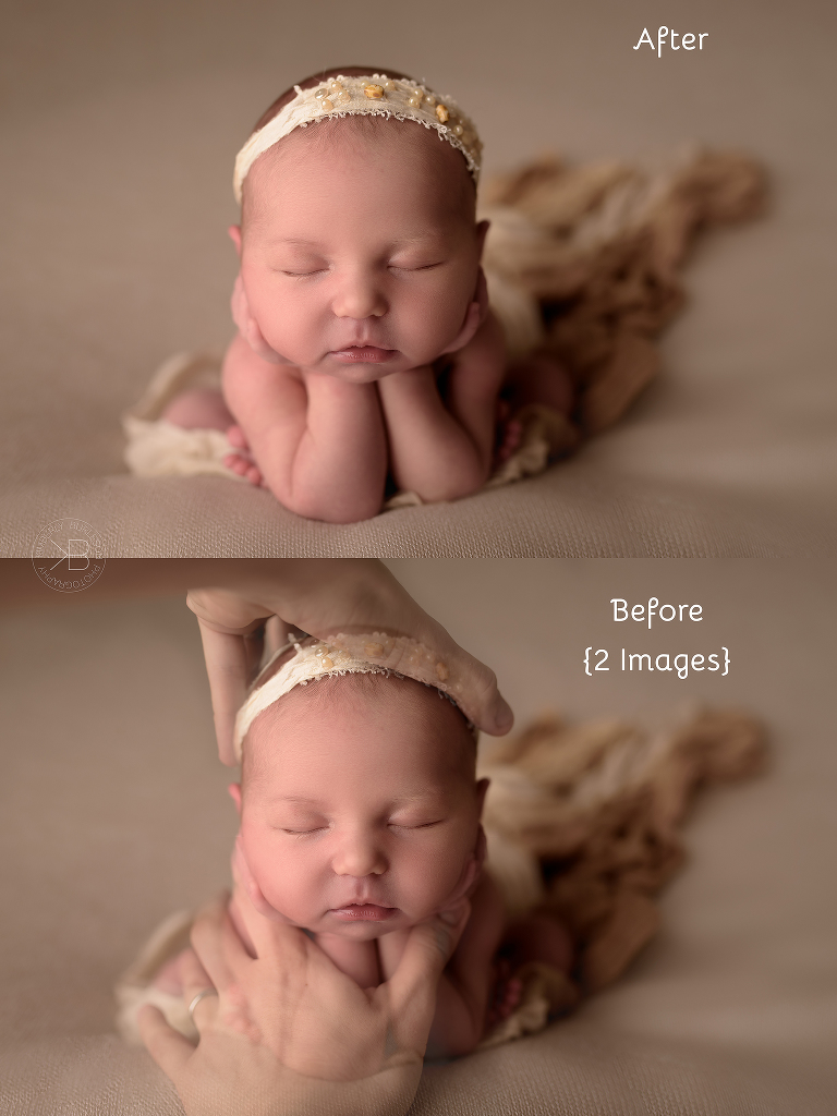 head in hands pose before and after houston newborn photography