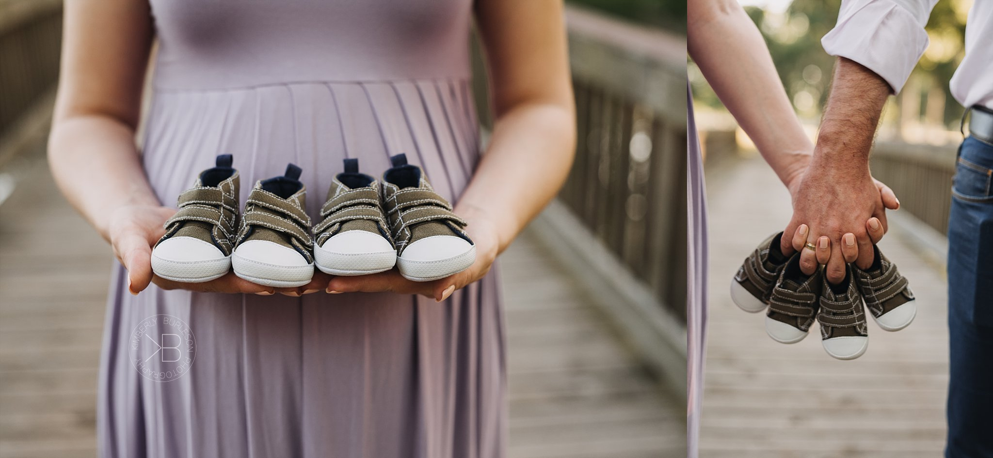 twins maternity session holding shoes