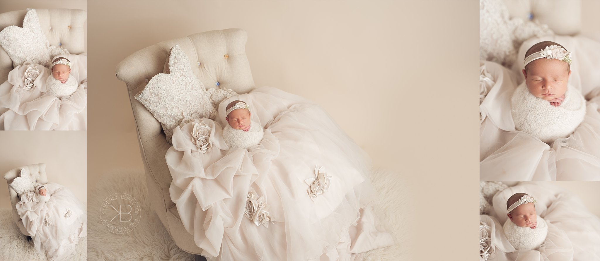 houston newborn photographer baby girl posed in moms wedding dress