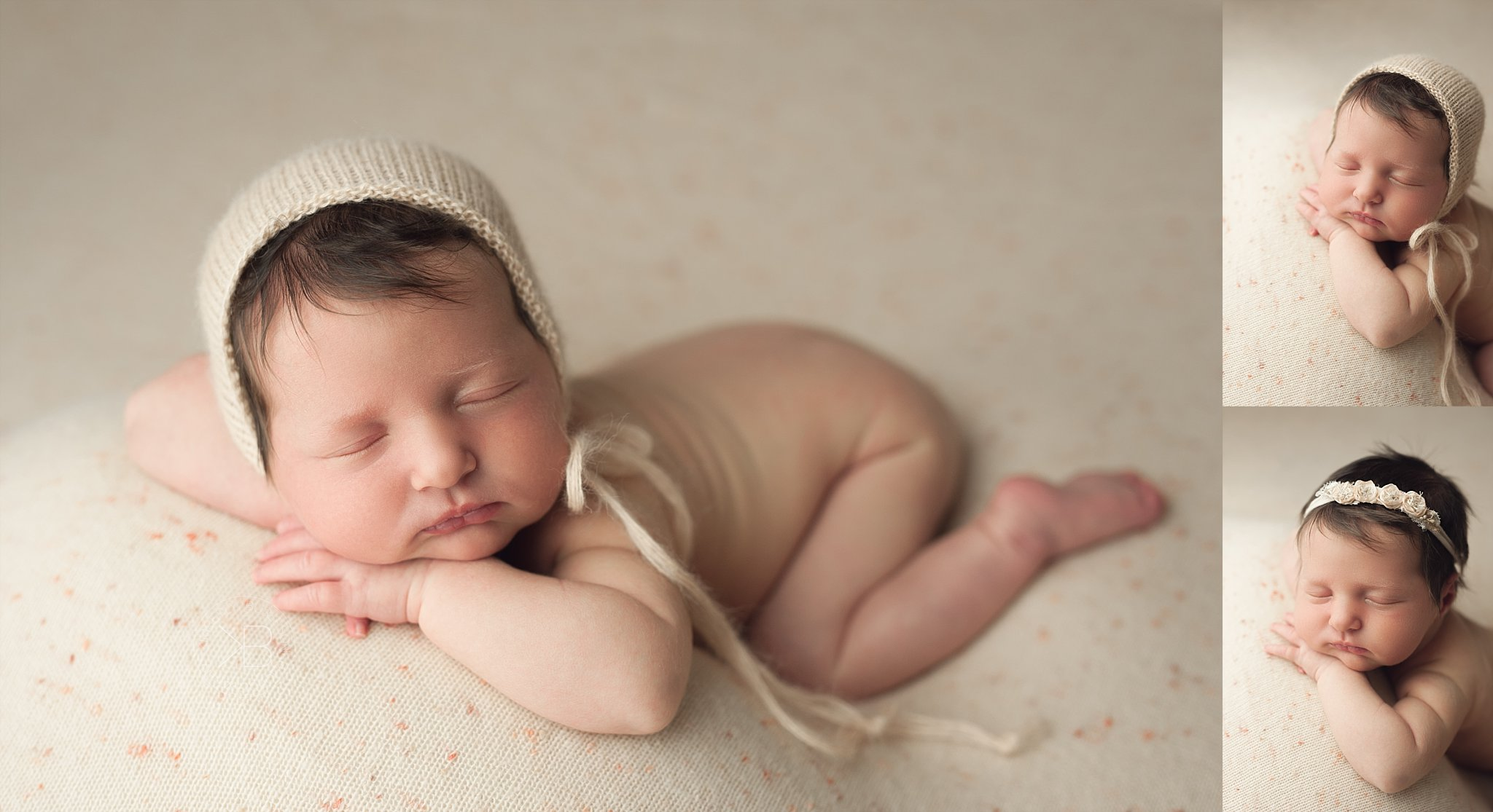 newborn photography pictures baby girl peaches and cream session