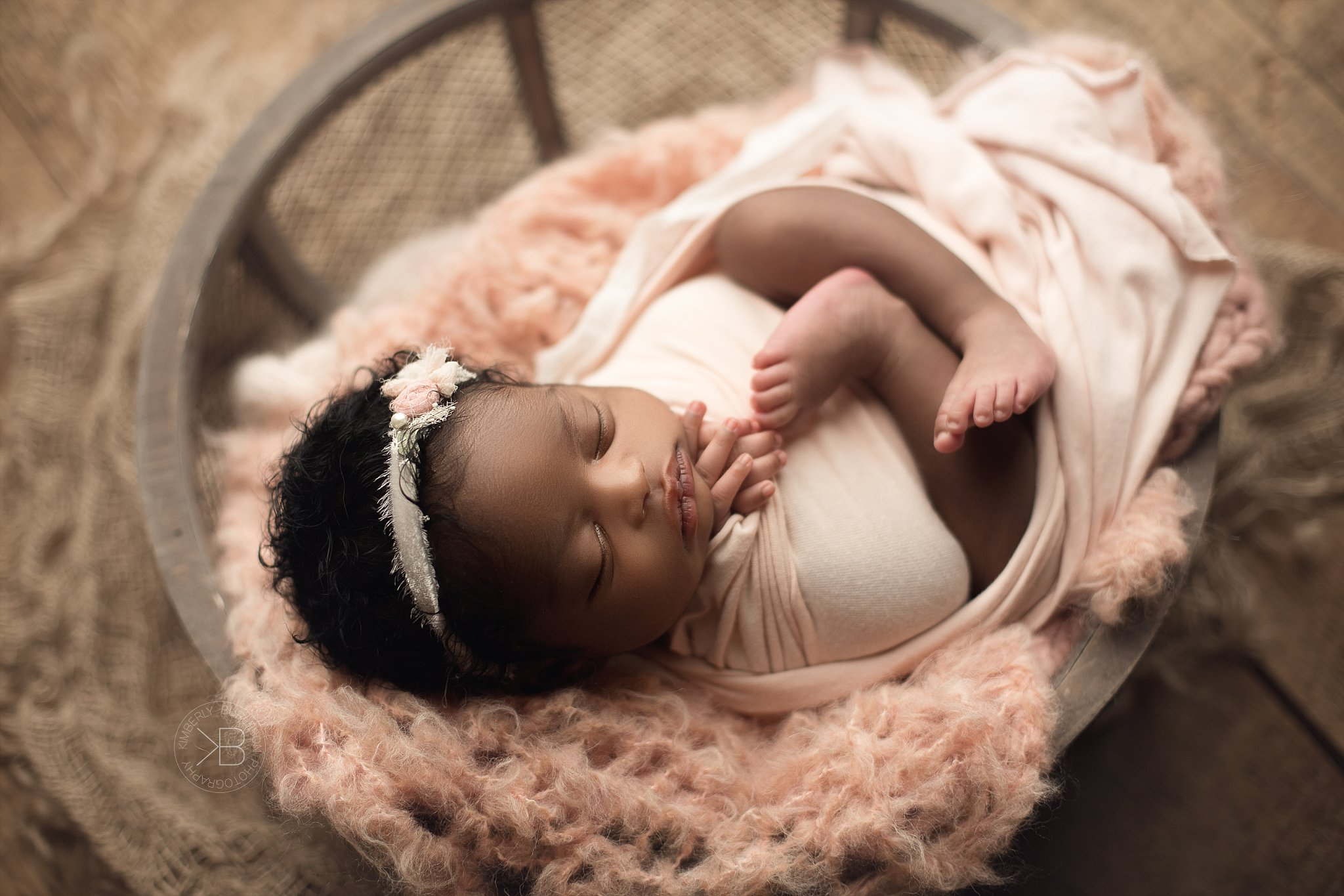 The Most gorgeous baby girl ever Newborn baby girl curly hair kimberly burleson photography